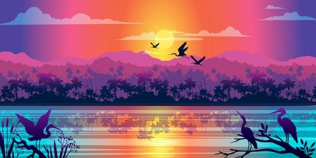 Poziomy tropikalny krajobraz z dżunglą, rzeką, mangrowym odbiciem, wschodem słońca i konturami ptaków