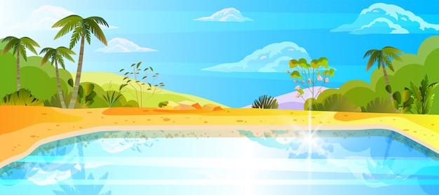Poziomy tropikalny krajobraz z palmami, oceanem, plażą, piaskiem, niebem i chmurami.