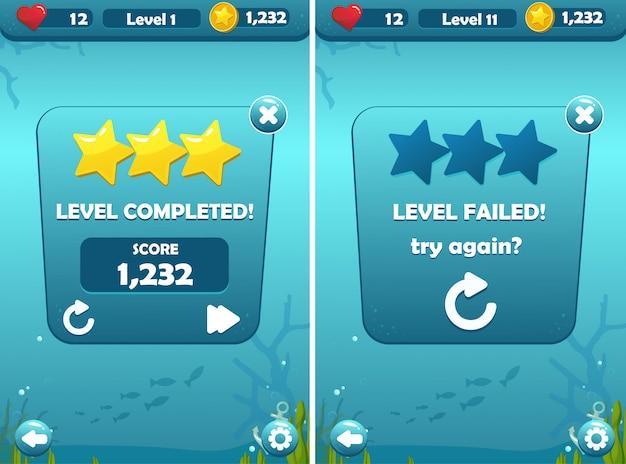 Poziomy ukończone i ekrany błędów dla podwodnej koncepcji gry