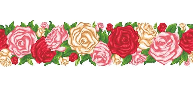 Poziomy wianek bez szwu z czerwonymi różowymi i białymi różami i zielonymi liśćmi