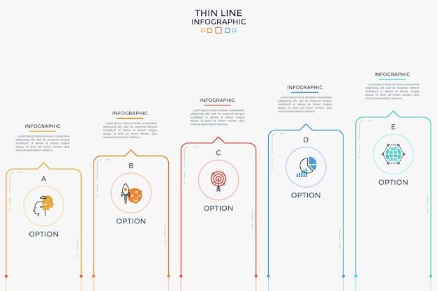 Poziomy wykres słupkowy z pięcioma kolumnami, ikonami cienkiej linii i miejscem na tekst. koncepcja 5 kroków progresywnego rozwoju i wzrostu biznesu. szablon projektu nowoczesny plansza. ilustracja wektorowa.
