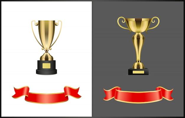 Pozłacane nagrody konkursowe lub konkursowe i wstążki