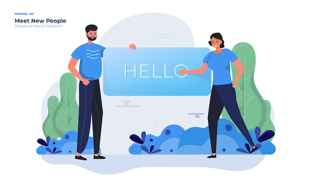 Poznaj nowych ludzi dzięki ilustracji przywitaj się