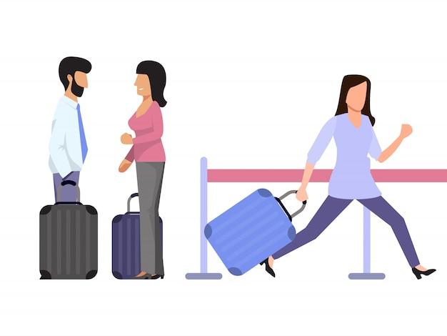 Późni pasażerowie kursują na lotnisko. turystka z bagażem biegnie do bramy lotniska. para turystów rozmawia ze sobą. dziewczyna spieszy się na pokład samolotu