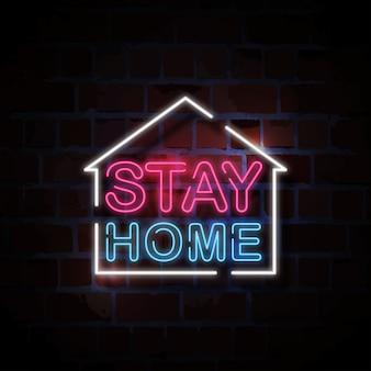 Pozostać w domu neon znak styl ilustracji