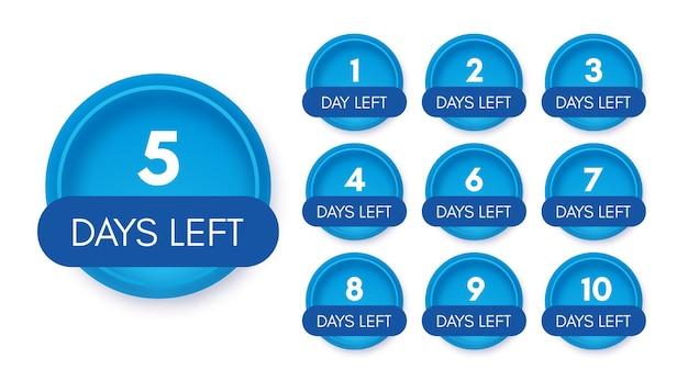 Pozostała liczba dni. zestaw dziesięciu niebieskich banerów z odliczaniem od 1 do 10. ilustracja wektorowa