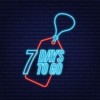 Pozostało 7 dni. minutnik. neonowa ikona. ikona czasu. wyprzedaż czasu liczenia. czas ilustracja wektorowa.