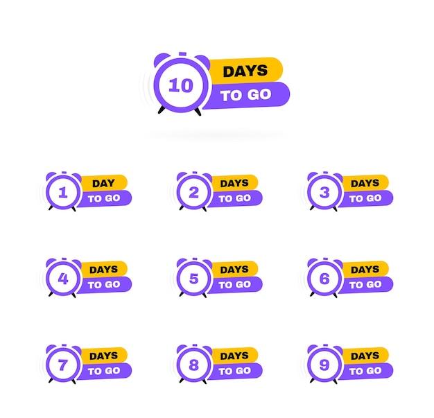 Pozostało dni od 1 do 10. budzik.