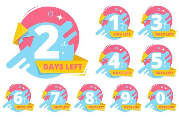 Pozostały dzień odznaki. numery czas sprzedaży naklejki biznesowe kolekcja wektor. odznaka odliczania dni ogłoszenia, licznik czasu do ilustracji sprzedaży