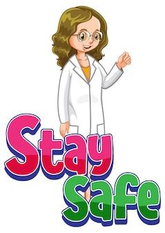 Pozostań bezpieczny transparent z postacią z kreskówki kobieta lekarz na białym tle