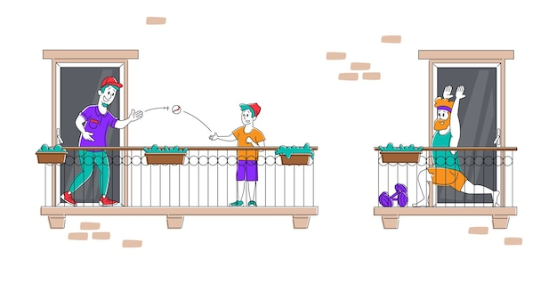 Pozostań w domu, blokuj ludzi na balkonach podczas izolacji pandemicznej koronawirusa