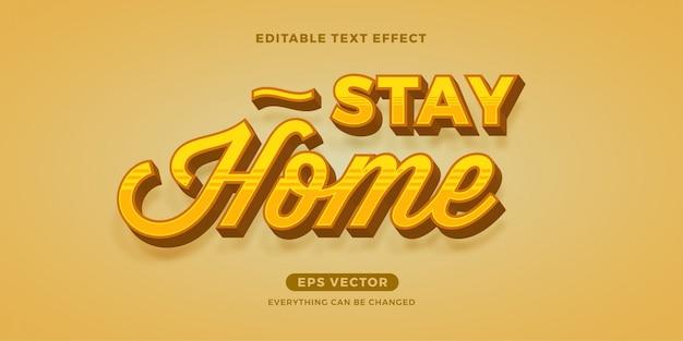 Pozostań w domu edytowalny efekt tekstowy