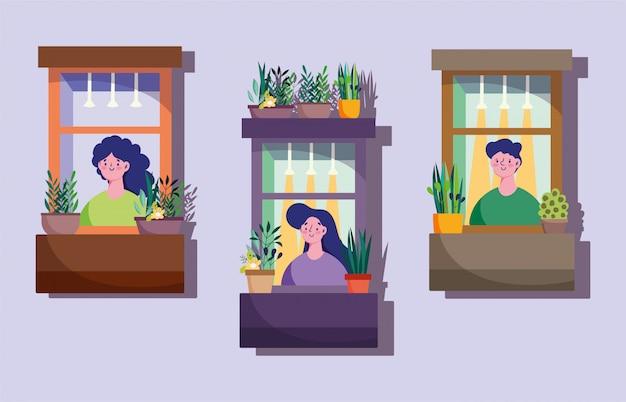 Pozostań w domu kwarantanna, fasada z sąsiadami w oknach, ilustracja dekoracji roślin doniczkowych