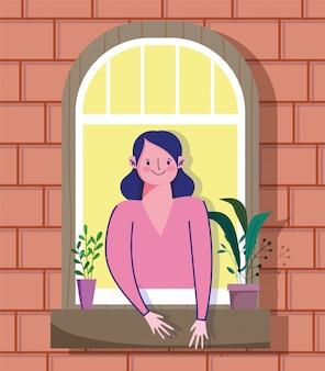 Pozostań w domu kwarantanna, kobieta patrząc w okno z rośliną w doniczce, fasada ilustracji z cegły