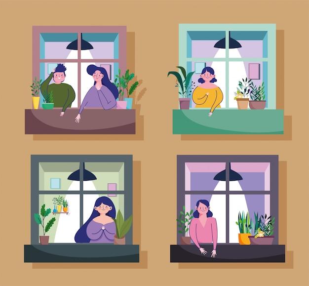 Pozostań w kwarantannie, ludzie spoglądają na okno swojego mieszkania