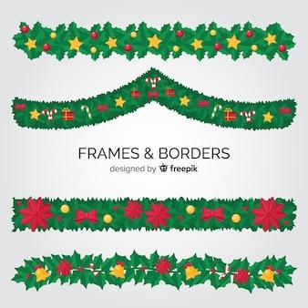 Pozostawia świąteczne ramki i granice kolekcji