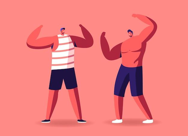 Pozowanie kulturystów płci męskiej demonstruje ogromne mięśnie i wysportowaną, idealną, atletyczną sylwetkę