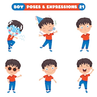 Pozy i wyrażenia zabawnego chłopca