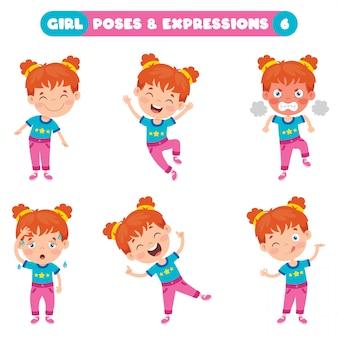 Pozy i wyrażenia zabawnej dziewczyny