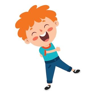 Pozy i wyrazy zabawnego chłopca