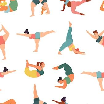 Pozy jogi i asany wzór z grubymi, grubymi kobietami joginami wektor sportowy fitness