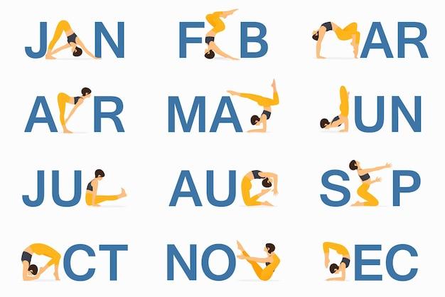 Pozycja jogi lub asana dla projektu szablonu kalendarza
