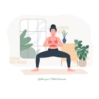 Pozycja jogi młoda kobieta ćwiczy ćwiczenia jogi