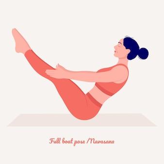 Pozycja jogi pełnej łodzi młoda kobieta ćwicząca ćwiczenia jogi