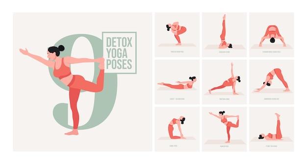 Pozycje jogi dla detoksu młoda kobieta ćwicząca pozy jogi