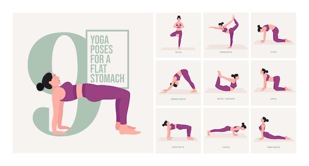 Pozycje jogi dla płaskiego brzucha młoda kobieta ćwicząca pozy jogi