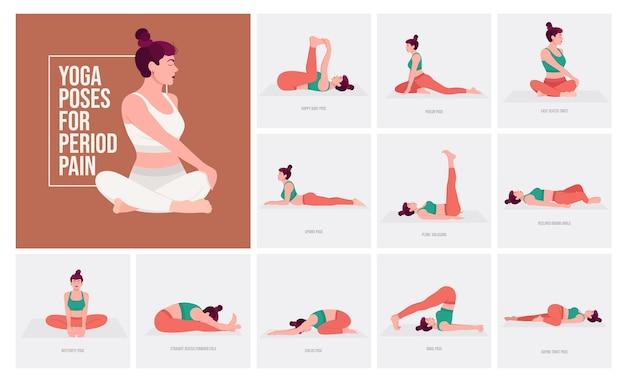 Pozycje jogi na ból menstruacyjny młoda kobieta ćwicząca pozy jogi