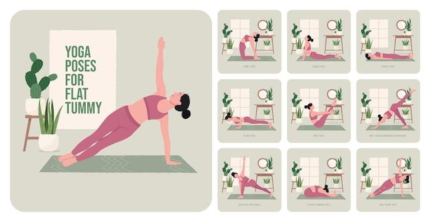 Pozycje jogi na płaski brzuch młoda kobieta ćwicząca pozy jogi
