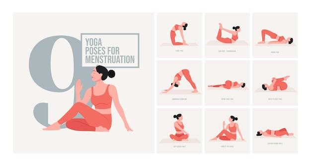 Pozycje jogi podczas menstruacji młoda kobieta ćwicząca pozy jogi