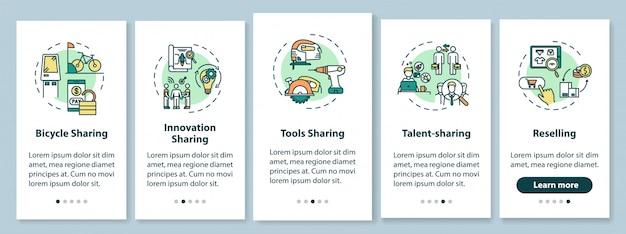 Pożyczanie peer-to-peer ekran strony wprowadzającej aplikacji mobilnej z koncepcjami. udostępnianie towarów i usług w pięciu krokach instrukcji graficznych. szablon ui z kolorowymi ilustracjami rgb