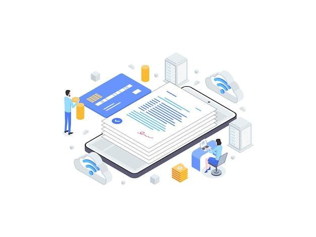 Pożyczka online izometryczny płaski ilustracja. nadaje się do aplikacji mobilnych, stron internetowych, banerów, diagramów, infografik i innych zasobów graficznych.