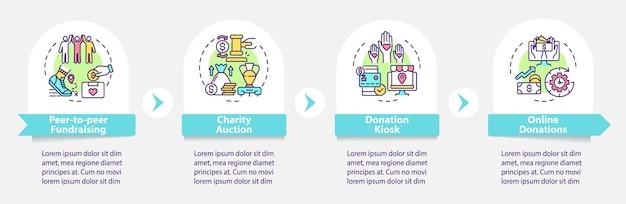 Pozyskiwanie funduszy na imprezy pomysły wektor infografika szablon. elementy projektu zarysu prezentacji aukcji charytatywnej. wizualizacja danych w 4 krokach. wykres informacyjny osi czasu procesu. układ przepływu pracy z ikonami linii