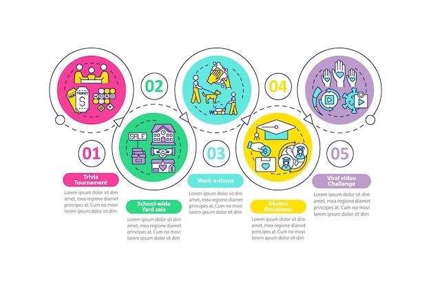 Pozyskiwanie funduszy odwołanie pomysły wektor infografika szablon. ciekawostki wieczory prezentacji zarys elementów projektu. wizualizacja danych w 5 krokach. wykres informacyjny osi czasu procesu. układ przepływu pracy z ikonami linii