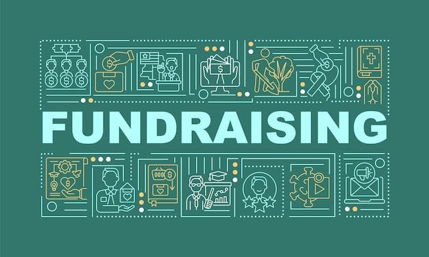 Pozyskiwanie funduszy słowo pojęć transparent. strategia zwiększania funduszy. infografiki z liniowymi ikonami na zielonym tle. na białym tle twórczej typografii. wektor ilustracja kolor konturu z tekstem