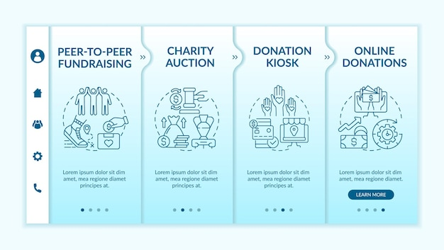 Pozyskiwanie pieniędzy na pomysły na imprezę onboardingową wektor szablon. responsywna strona mobilna z ikonami. przewodnik po stronie internetowej 4 ekrany kroków. koncepcja kolorystyczna pozyskiwania funduszy peer-to-peer z liniowymi ilustracjami