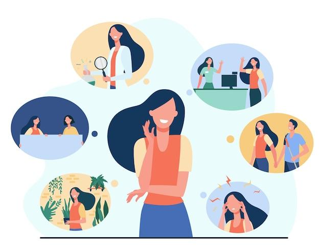 Pozytywna dziewczyna i jej wspomnienia z życia na białym tle płaska ilustracja.
