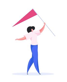 Pozytywna kobieta niosąca flagę do lokalizacji. płaska ilustracja