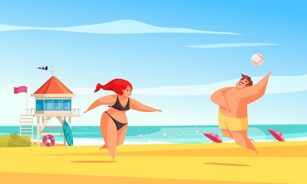 Pozytywna kompozycja ciała na plaży z dwoma dużymi ludźmi grającymi w piłkę na ilustracji piasku