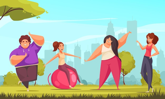 Pozytywna kompozycja fitness z płaskim ciałem z czterema osobami zaangażowanymi w ćwiczenia sportowe ilustruje