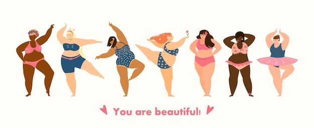 Pozytywna koncepcja ciała. różne rasy plus size kobiety tańczą w bikini. koncepcja samoakceptacji. poziomy baner. ilustracja wektorowa płaski.
