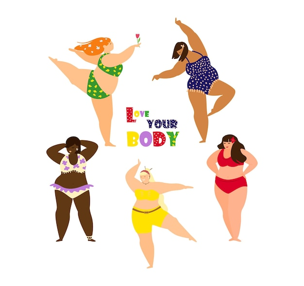 Pozytywna koncepcja ciała z pięknymi kobietami plus size tańczącymi w kolorowych strojach kąpielowych. multy etniczne piękno. ilustracja wektorowa płaski kreskówka.
