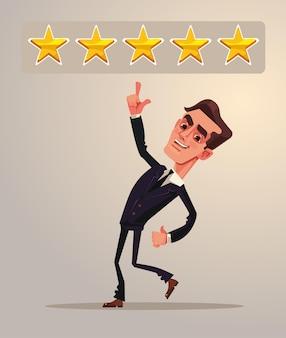 Pozytywna pięciogwiazdkowa informacja zwrotna ocena pracownik biurowy biznesmen postać płaska kreskówka ilustracja