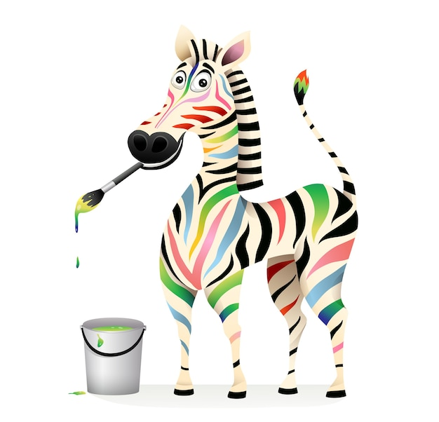 Pozytywna szczęśliwa kolorowa zebra malowanie farbami i pędzlem. koncepcja leczenia psychologii zwierząt maskotka. zabawny, zabawny, uśmiechnięty, wielokolorowy wzór zebra.