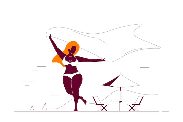 Pozytywne ciało, plus rozmiar czarna afroamerykanin kobieta z szalikiem na plaży. letnie wakacje, koncepcja samoakceptacji. ilustracja linia stylu płaski.