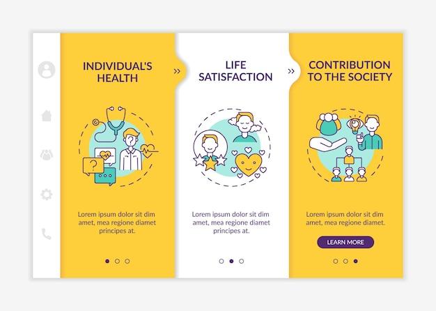 Pozytywne korzyści rozwojowe dla dorosłych przy wprowadzaniu szablonu wektor responsywna strona mobilna z ikonami. przewodnik po stronie internetowej 3 ekrany kroków. koncepcja koloru sukcesu z liniowymi ilustracjami