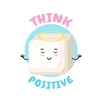 Pozytywne myślenie, słodka postać tofu wykonująca medytację